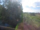 Едем на поезде по мосту через Вятку (ст.Гирсово)
